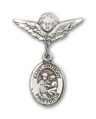 Sterling Silver Baby Badge with St. Anthony of Padua Charm and Angel with Wings Badge Pin Relious Obsession Jewels Obsession Jewels-9004SS/0735SS