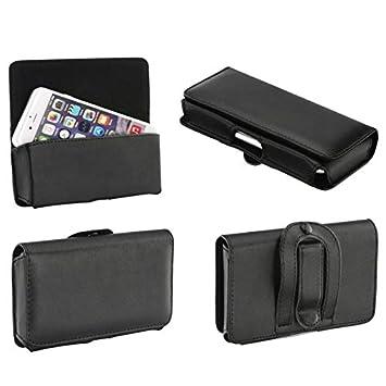 Supercase24 Quertasche für Doogee Y6 Piano Black Case Handy Tasche Schutz Hülle Etui Cover Quer Gürtel Clip
