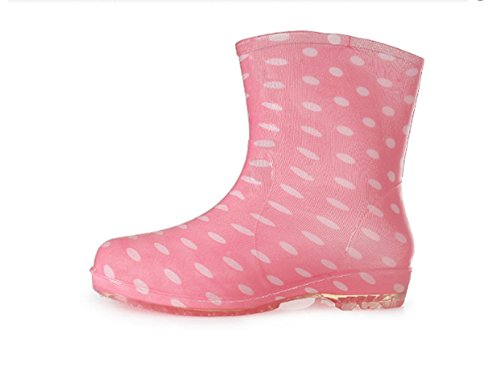 Bomkin Dames Waterdichte Rubberen Regenlaarzen Met Easy-on Handvatten Eenvoudig Voor Meisjes | Fluwelen Decoratie Roze
