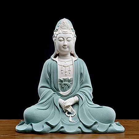 LKXZYX Decorativos Figuras Salon candelabros de Jardin Exterior Miniatura,Bodhisattva Buda Decoración Dehua Escultura de Porcelana Blanca: Amazon.es: Hogar