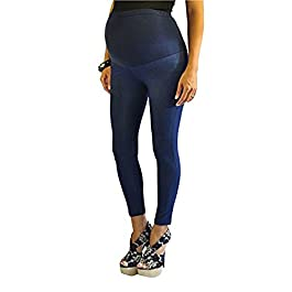 FuturaLondon Full Ankle Blue Length Cotton Over Bump Maternity Denim Look Leggings Jeggings *