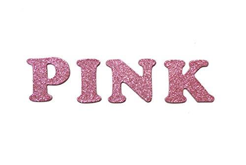 Pink Metallic Glitter HandCut Chipboard Letters Alphabet set Sickers 1.5