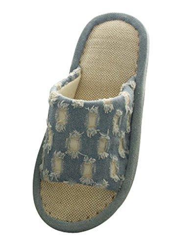 Pantofole Da Donna Di Moda Di Lino Cattior Relax Pantofola Blu 1