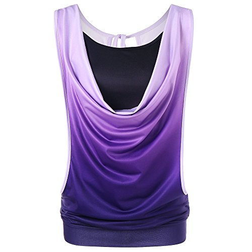 WEUIE Clearance Sale Fashion Womens Sleeveless Gradient Color Two Piece Tank Tops Camis+Vest Blouse (L,Purple) from WEUIE
