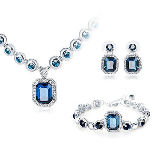Everlasting BridgeCrown Style Necklace Bracelet Earrings Fashion Jewelry Set Made with SWAROVSKI Crystal (Navy Blue) (Navy Blue Crystal)