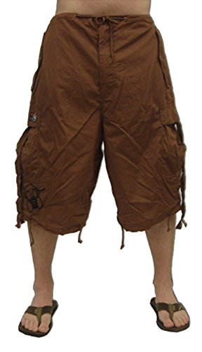 Pants Ufo (Ghast Unisex Cargo Drawstring Rave Dance Shorts, Brown Medium)