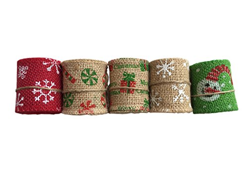Christiiner 5 Pieces Christmas Decorations of Linen a Volume of 2.1Yard, a Total of 5 Rolls 10.5 Yard (2.4'' Width) by Christiiner