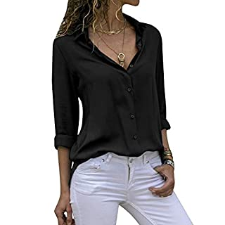 Yidarton Women's Long Sleeve V Neck Chiffon Blouses Tops Button Down Business Shirts(Black,M)