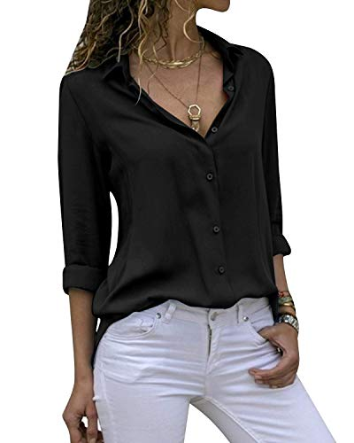 Yidarton Women's Long Sleeve V Neck Chiffon Blouses Tops Button Down Business Shirts(Black,XL)