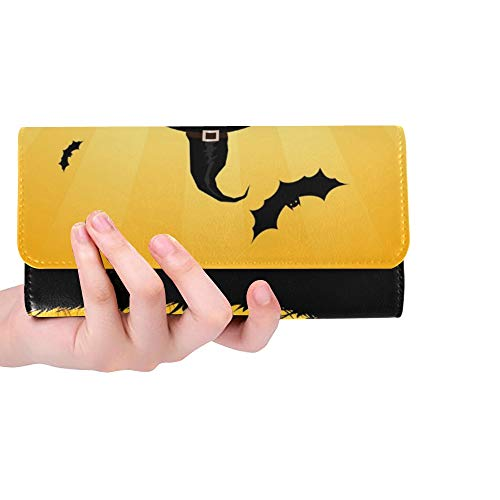 Unique Custom Halloween Party House Scarecrow Pumpkins Women Trifold Wallet Long Purse Credit Card Holder Case Handbag