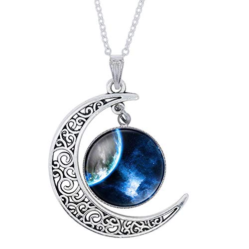 Eaglers Moon Pendant Necklace Fashion Purple Nebula Space