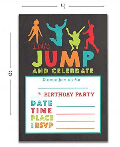 Kids Jumping Birthday Party Invitations For Trampoline Park Gravitopia Jump Zone Big Air With Envelopes