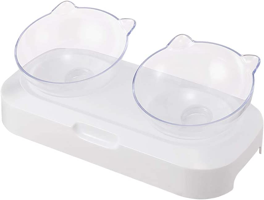 Jerock Raised Cat Bowls - 0/15° Tilted Elevated Cat Bowls with Stand, Cat Food and Water Feeding Dishes, Orthopedic and Anti Vomiting Cat Bowl Set