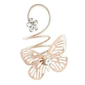 Anillos plateados oro de la aleación del Rhinestone de la mariposa (color al azar)