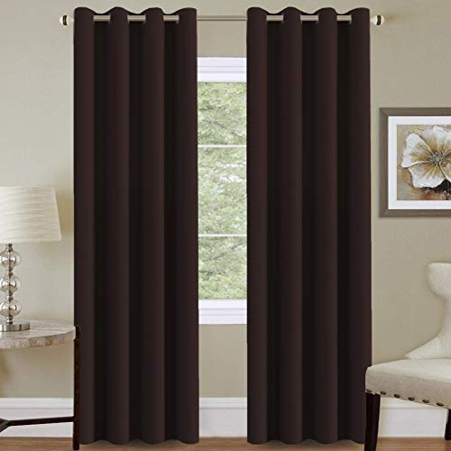 H.VERSAILTEX Premium Blackout Curtains for Living Room 84 Inches Length, Blackout Curtains for Bedroom Thermal Insulated Drapes - Chocolate ()