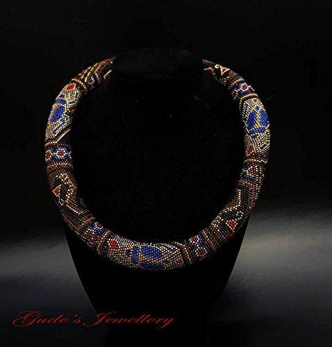 Crochet rope beaded choker necklace Mysterious Egypt