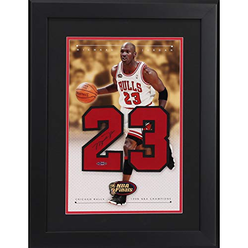 "Michael Jordan Chicago Bulls Framed Autographed 24"" x 18"" 1998 Champions Jersey Number - Upper Deck Certified from Sports Memorabilia"