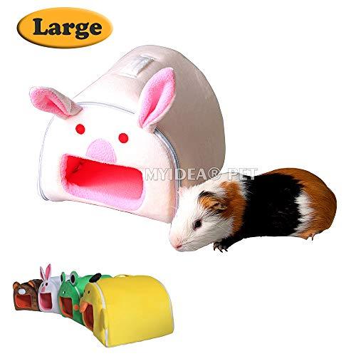 MYIDEA Guinea pig Hamster's Portable Bed – Hedgehog/Rat / Gerbil/Sugar glider Zipper Folding Pet Cartoon Portable Nest (L, Bunny)