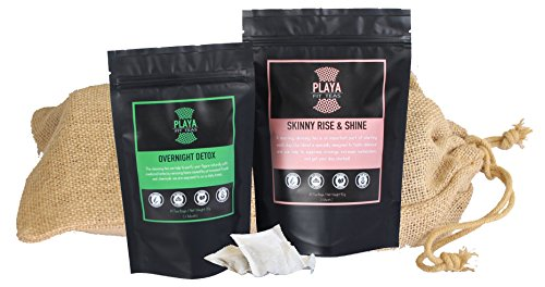 Playa Fit Teas (2 Package Combo) – 1 Month Weight Loss Tea Detox Treatment – South American Premium Herbal Cleanse Infusion Combo – All Natural Slimming Infusions for Day and Night (Daily Tea Bags)