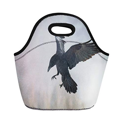 Tinmun Lunch Tote Bag Bird Flying Black Raven Corvus Corax in Winter Time Reusable Neoprene Bags Insulated Thermal Picnic Handbag for Women Men -