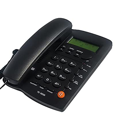 LeeKerTel LK-P032B Home Office Corded Phone with Speakerphone, Caller ID, Speed Dial, Alarm Clock; Calculator Function Basic Landline Telephone(Black)