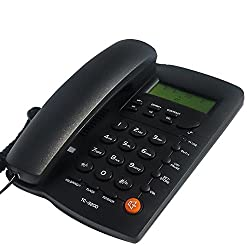 KerLiTar K-P032B Home Office Corded Phone with Speakerphone, Caller ID, Speed Dial, Alarm Clock; Calculator Function Basic Landline Telephone(Black)