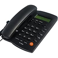 KerLiTar K-P032B Home Office Corded Phone with Speakerphone, Caller ID, Speed Dial, Alarm Clock; Calculator Function Basic Landline Telephone(Black)