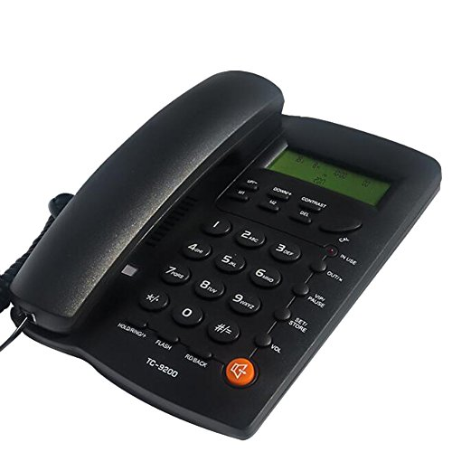 KerLiTar K-P032B Home Office Corded Phone with Speakerphone, Caller ID, Speed Dial, Alarm Clock; Calculator Function Basic Landline Telephone(Black) by KerLiTar