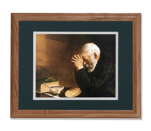 Daily Bread Man Praying at Table Grace Religious Wall Picture G/W Matted Oak Framed Art Print