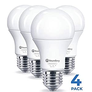 Boundery Emergency Power Failure LED Light Bulb, 4 Pack – Safety During Power Outage – Lights Up Automatically When Power Fails – Rechargeable Battery – Works Like Ordinary Bulbs – 3500K 9W 120V 60W