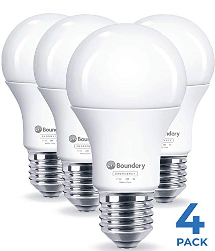 Boundery Emergency Power Failure LED Light Bulb, 4 Pack - Safety During Power Outage - Lights Up Automatically When Power Fails - Rechargeable Battery - Works Like Ordinary Bulbs - 3500K 9W 120V 60W
