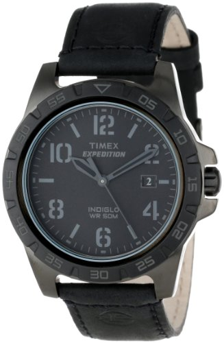 Timex Unisex T499279J Expedition Rugged Metal Field Blackout Leather Strap Watch