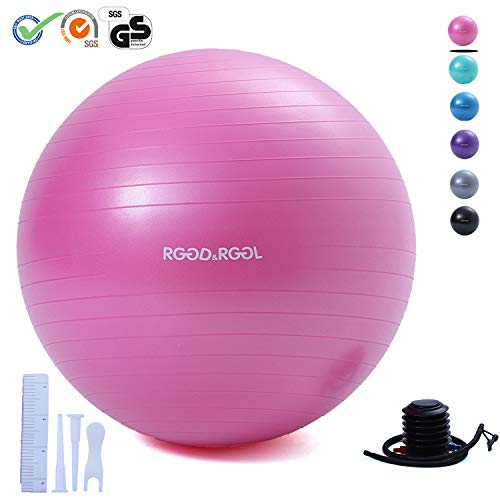 RGGD&RGGL Exercise Ball (18-34in),Professional Yoga Stability Ball Chair Extra Thick Anti-Burst Support 2200 lbs,with Quick Pump &Workout Guide for Home&Gym&Office (Pink, 30inch) (Best Anti Burst Stability Ball)