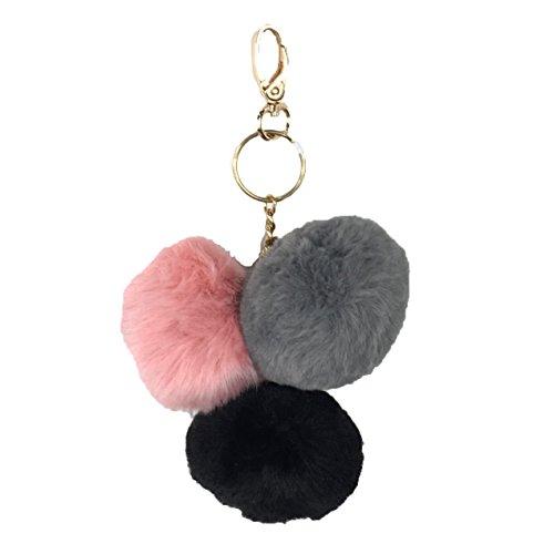 under-one-sky-triple-pom-pom-key-chain-purse-charm-black-grey-pink