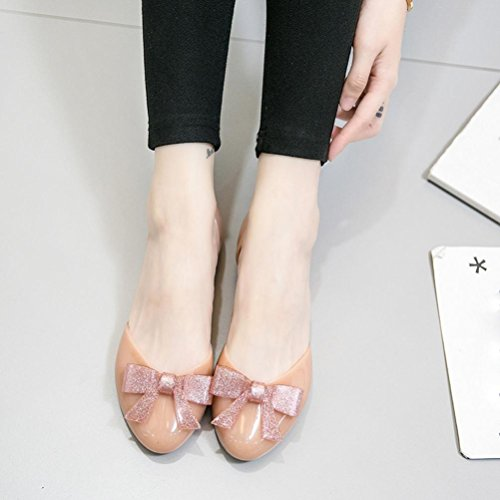 Work Heel Slip Office Women Crystal Flat Shoes Toe Round Casual Shoes Low Jelly Shoes Sandals Pink On Amiley Bow xBOnqRY5n