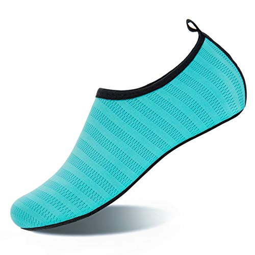 Water Shoes for Womens and Mens Summer Barefoot Shoes Quick Dry Aqua Socks for Beach Swim Yoga Exercise (Aquamarine Blue, ()