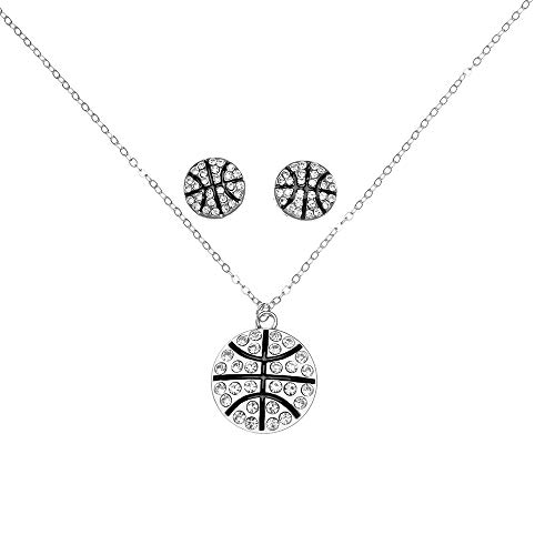 Sportybella Basketball Necklace & Earrings, Basketball Jewelry, Basketball Rhinestone Charm Necklace, for Basketball Players -