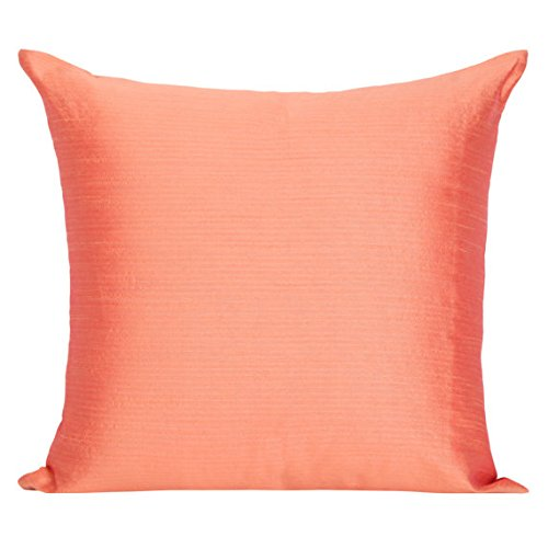 Set of 2 Salmon Orange Art Silk Pillow Covers, Plain Silk Cushion Cover, Solid Color Salmon Orange Throw Pillow, (20x20 inches, Salmon (Orange Silk Accent Pillow)