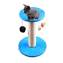 Cat Scratcher with Mice&Ball Toy Kitten Scratching Post Pole Activity Centre Pet Cat Tree Play Area Climbing Sisal Toy with Platform by Awtang Blue