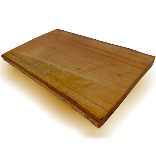 roro Hand-carved Natural Mango Wood Serving Board with Bark Sides, 12 Inch
