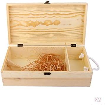 Cajas De Regalo De Vino De Madera Sin Terminar para 2 Botellas De Caja De Vino Tinto/Blanco - con Cierre Y Asa, Color Natural: Amazon.es: Equipaje