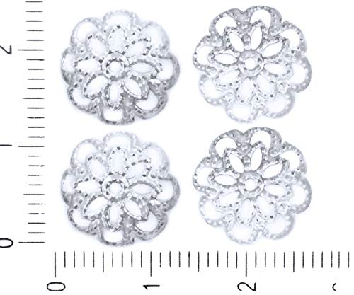 (80pcs Silver Plated Large Bead Tassel Cap Filigree Flower Floral Round Bohemian Metal Findings 12mm x 3mm Hole 1mm)