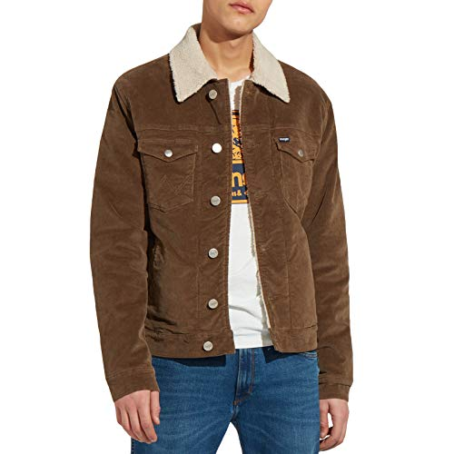 - Wrangler Mens Sherpa Wool Inner Borg Collared Button Down Corduroy Jacket - XL