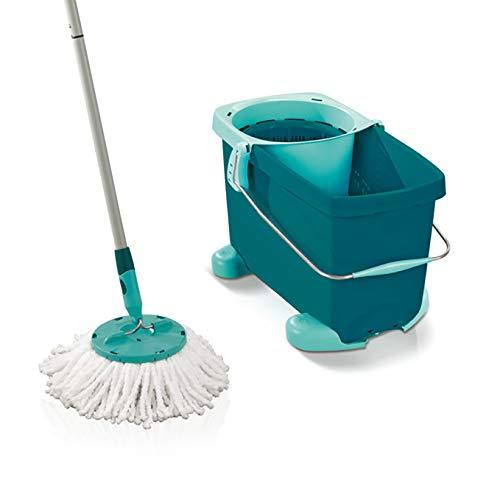 (Leifheit Set Clean Twist Rolling Cart, Floor Cleaner, Mop Bucket, Mint Green,)