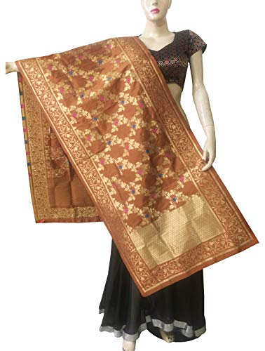 Indian Bridal Wedding Pakistani Banarasi Women Woven Cotton Silk Veil Dupatta Stole Chunni Shawl Scarf (BB Peru)