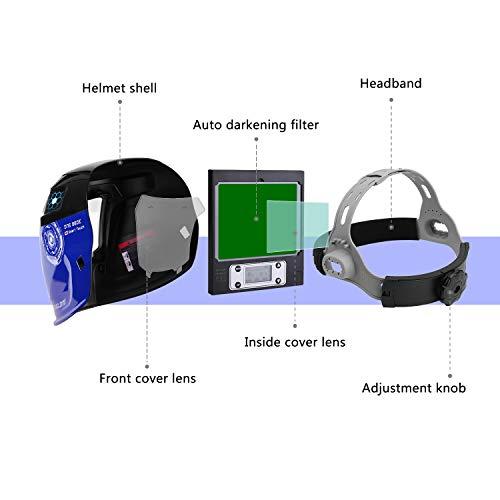 Durable Solar Powered Welding Helmet Auto Darkening Professional Hood with LED Digital Display Accurate Adjustable Shade Range 4/5-8/9-13 for Mig Tig Arc Weld Grinding Welder Mask by DEKOPRO (Image #5)