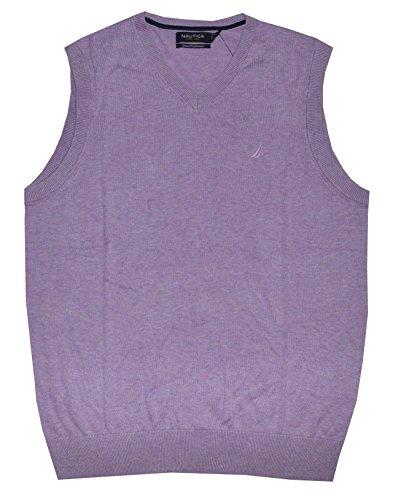 Performance V-neck Vest Sweater (Nautica Men 12 Gauge Logo V-Neck Sweater Vest (S, Lavendula Heather))