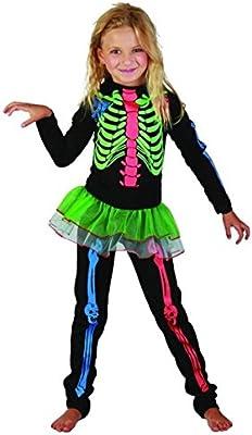 Disfraz esqueleto de colores niña - 4 - 6 años: Amazon.es ...