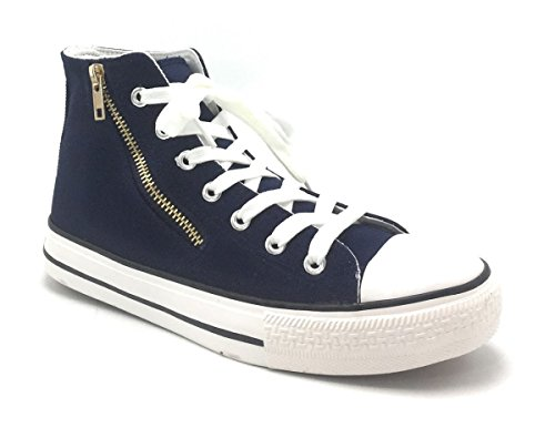 Womens High Top Classico Canvas Fashion Flat Lace Up Casual Summer Special Sneakers Navy / Jw-13