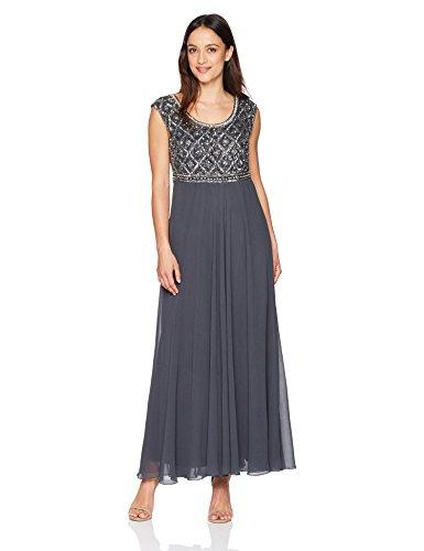J Kara Womens Petite Short Sleeve Beaded Top Long Dress Graymulti